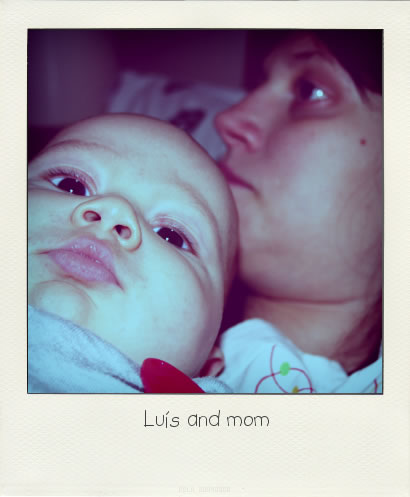 Luís and mom - Polaroid style