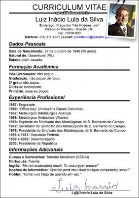 Curriculum Vitae de Luiz Inácio Lula da Silva